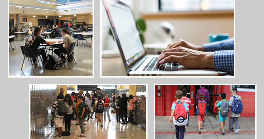 Photo Collage: Close up of hands typing on laptop; students sitting in commons, students at lockers in hallway; kids with backpacks entering school front door